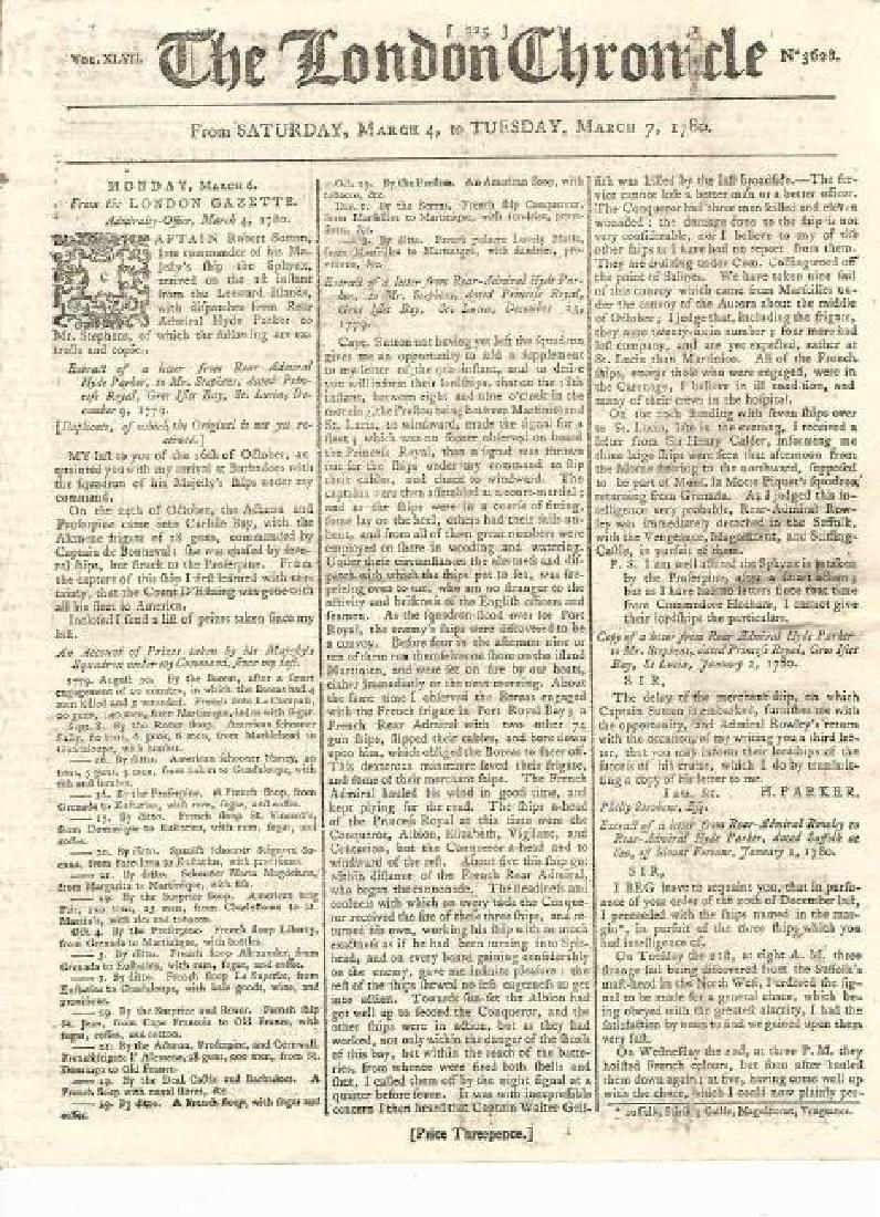 1780 London Chronicle Revolutionary War Era Naval...