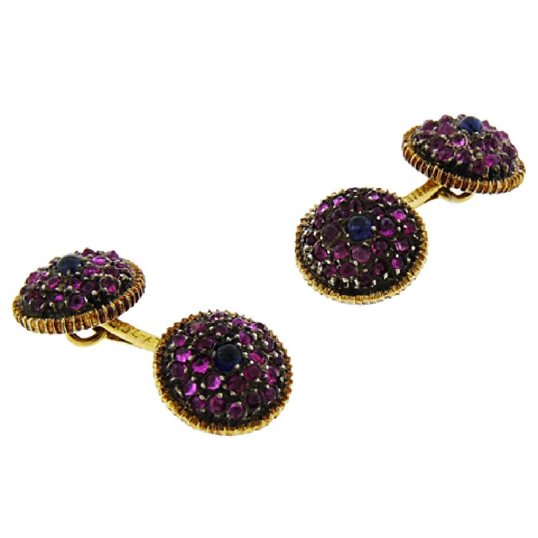 Buccellatti 18K Gold Ruby Sapphire Cufflinks