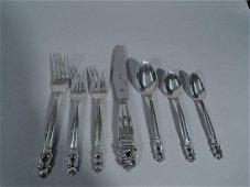 Georg Jensen Acorn Sterling Silver Dinner Set for 12