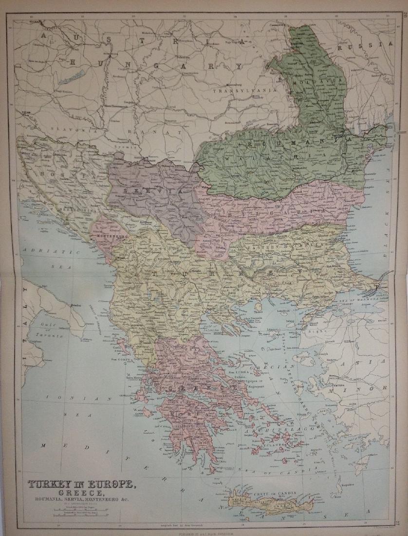 Map of Turkey, Greece, Servia, Montenegro, 1885