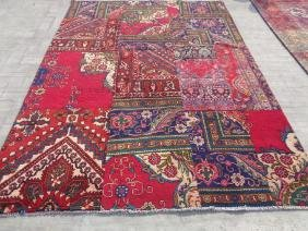 Hand Knotted Wool Persian Patch Work Rug 8.10x6.4