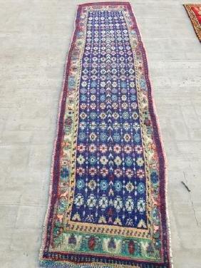 Semi Antique Wool Persian Hamadan Runner Rug 9.3x2.6