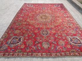 Hand Knotted Wool Persian Tabriz Rug 10.9x7.6