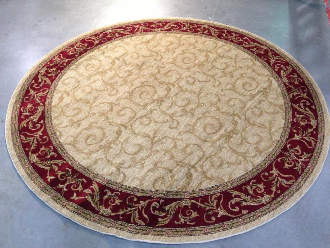 French Scroll Design Round Rug 5.3x5.3