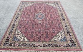 Hand Knotted Wool New Indo Sarouk Rug 6.5x8.2