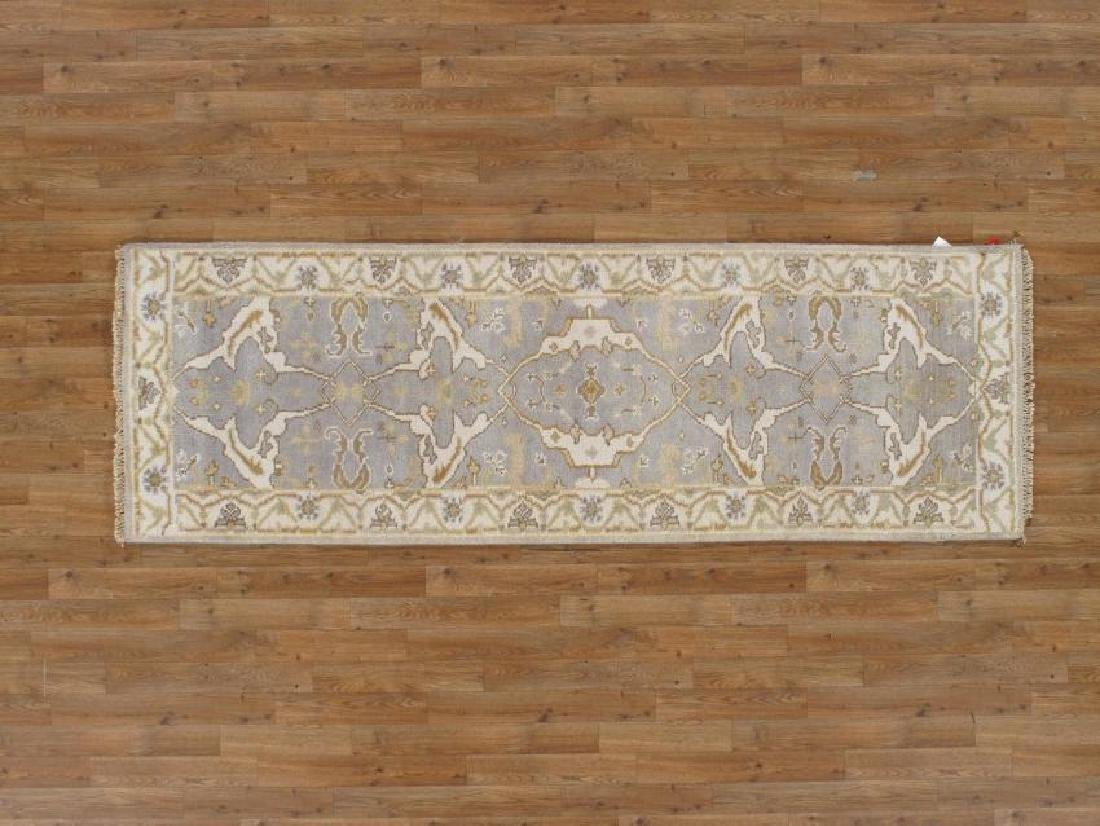 Elegant Oushak Wool Runner Rug 8Ft