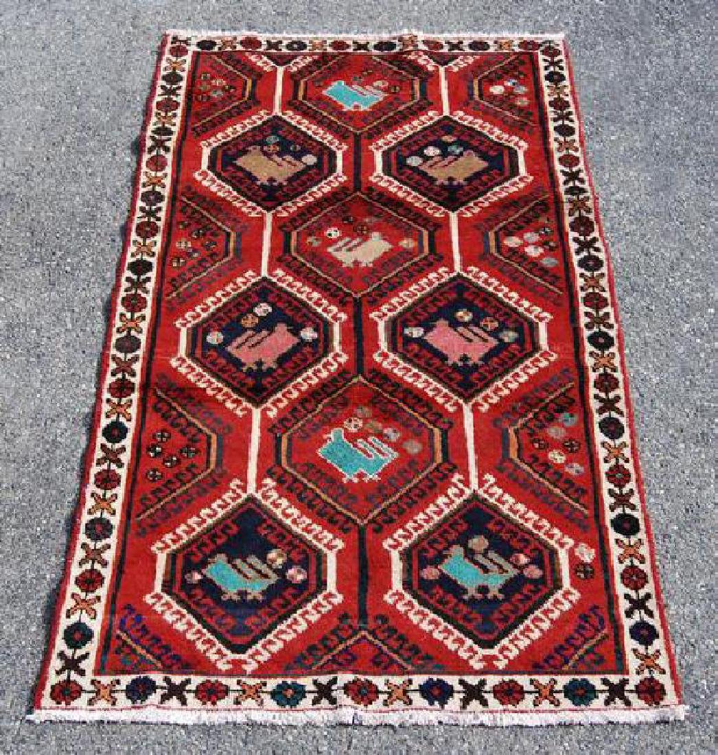 Persian Hamedan Geometric Design Wool Rug 3.10x7.3