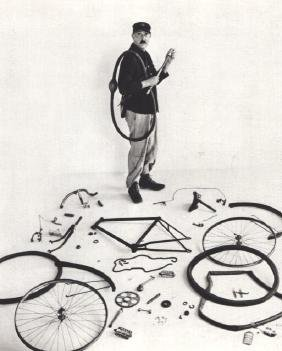 ROBERT DOISNEAU - Jacques Tati and his Bicycle, 1949