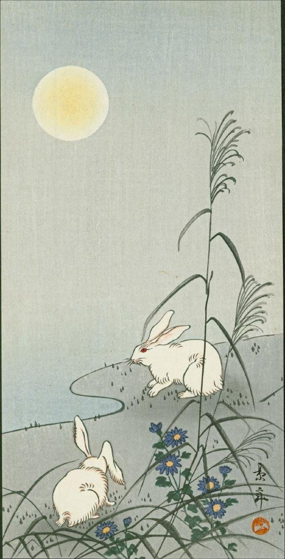 Imao Keinen: Two Rabbits in the Moonlight