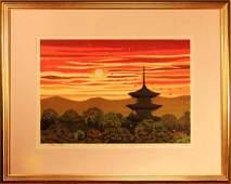 Masao Ido: Kyoto Pagoda at Sunset