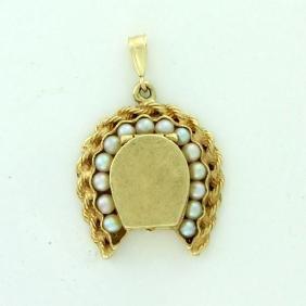 Vintage 14K Gold Pearl Memory Locket, 1915