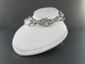 Vintage Art Nouveau Sterling Silver Leaf Design