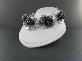 Vintage Art Nouveau Sterling Silver 3D Rose Bracelet