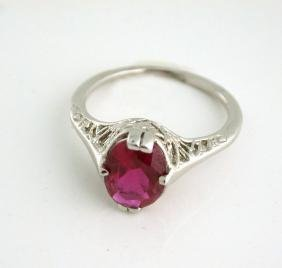 Art Deco 14K Gold Filigree Synthetic Ruby Ring, 1927