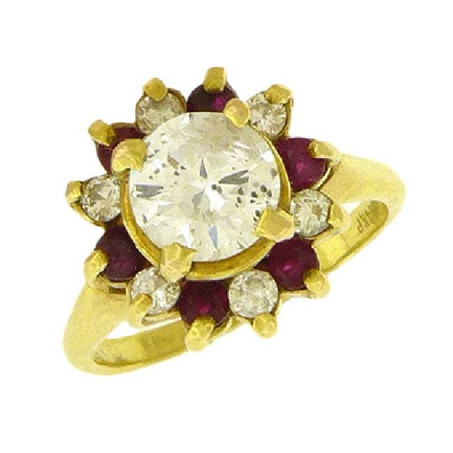 Art Deco 14K Gold Ruby Diamond Solitaire Ring, 1930s