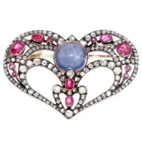 Antique Victorian 18K Gold Sapphire Diamond Brooch
