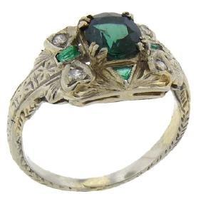 Antique Art Deco 14K Gold Tourmaline Diamond Ring