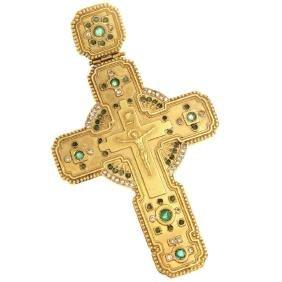 Russian Victorian Gold Diamond Emerald Cross Pendant