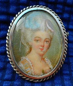 French Hand Painted Minature Portrait Pin, 19th C