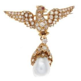 Antique Victorian 18K Gold Pearl Ruby Diamond Brooch