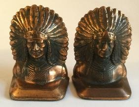 Pair of Cat Iron Indian Chief Bookends