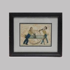 Folk Art Pen And Watercolor Of Two Men Working