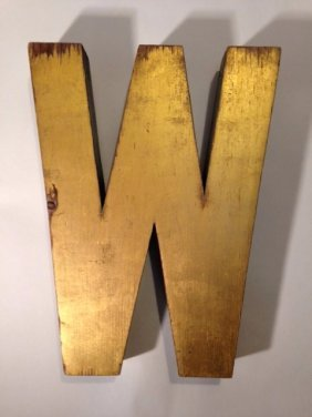 Early 20thc W With Old Gold Paint