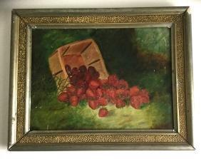 Still Life of Strawberries on Tin