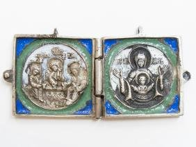 Russian Silver and Enamel Diptych, 19th C
