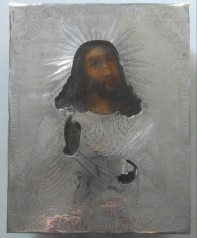 Antique 84 Silver Russian Icon of Christ, 1858