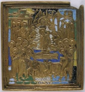 Dormition Of The Virgin Mary Russian Icon, 19th C