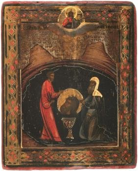 Finding of the Head Russian Icon, 19th C
