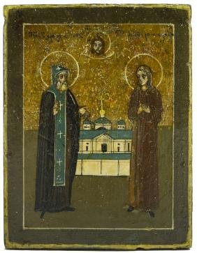 Two Saints Russian Icon, 19th C