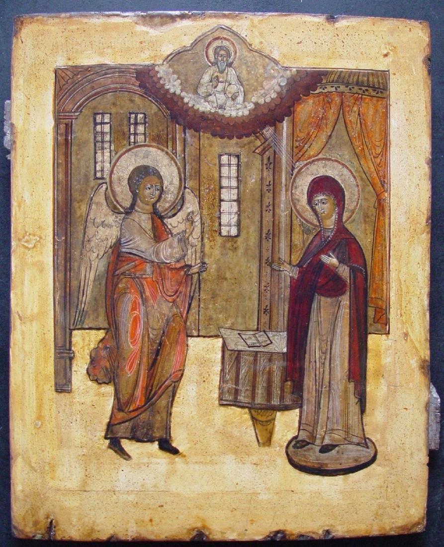 Annunciation Russian Icon, 18th C
