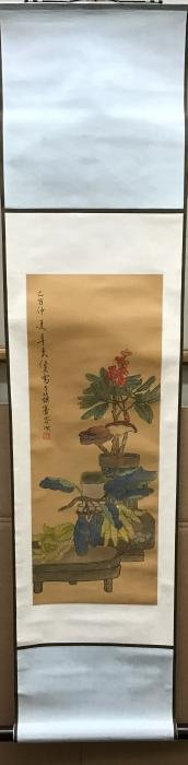 Chinese Qing Silk Scroll Painting of Flower & Butterfly