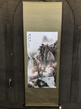 Watching Waterfall Scroll Painting