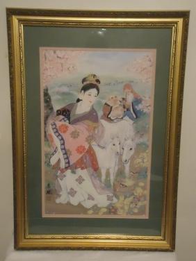 Beautiful Asian Lady Watercolor, 1900s