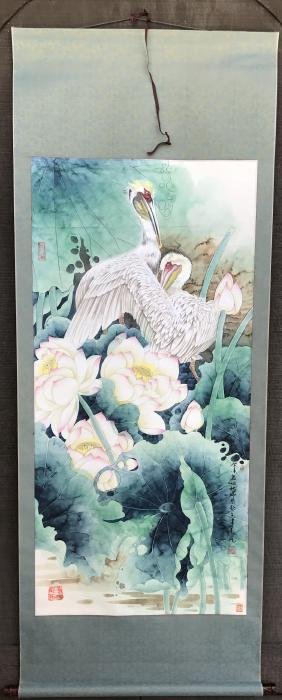 Two Pelicans in Chinese Lotus Scroll Painting
