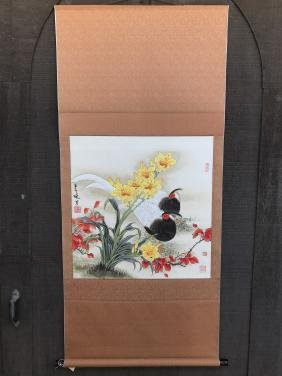 Two Pheasants Chinese Scroll Painting