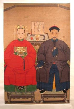 Large Chinese Ancestor Portrait, Scroll, Qing Dynasty