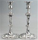Georgian Ebenezer Coker Sterling Candlesticks, 1764