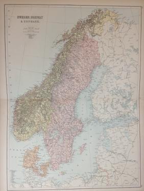 Map of Sweden, Norway & Denmark, 1885