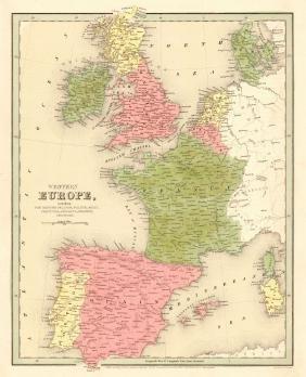 Goodrich: Map of Western Europe, 1842