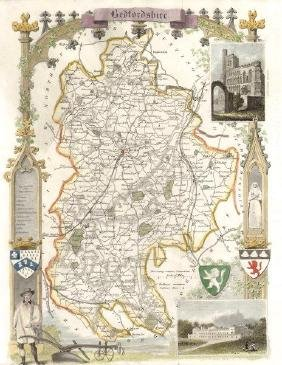 Moule: Bedfordshire County Map, 1840