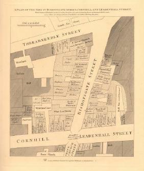 Wilkinson: Plan of 1765 Bishopsgate Street Fire, 1834