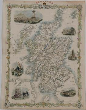 Tallis: Map of Scotland, 1851
