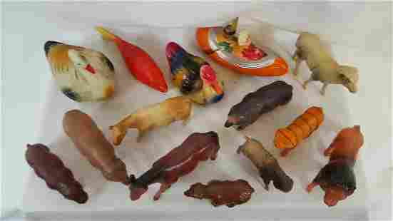 Group Of 16 Celluloid Animals And Toys