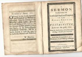 1721 English Sermon Death Of Charles I