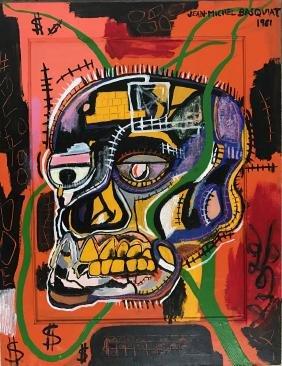 Attr. Jean Michel Basquiat: Oil on Board