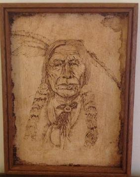 Native American Indian Tribal Chief, Signed K McGuiness